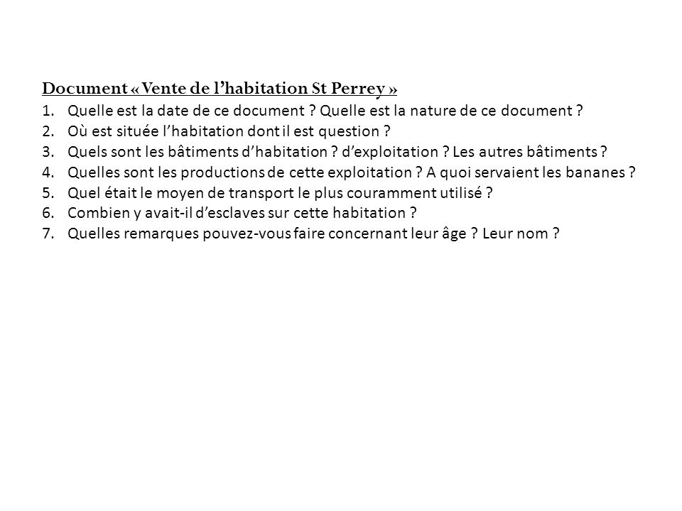 Document « Vente de l'habitation St Perrey »