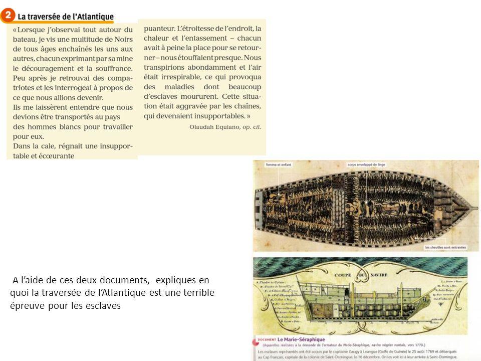 A l'aide de ces deux documents, expliques en quoi la traversée de l'Atlantique est une terrible épreuve pour les esclaves