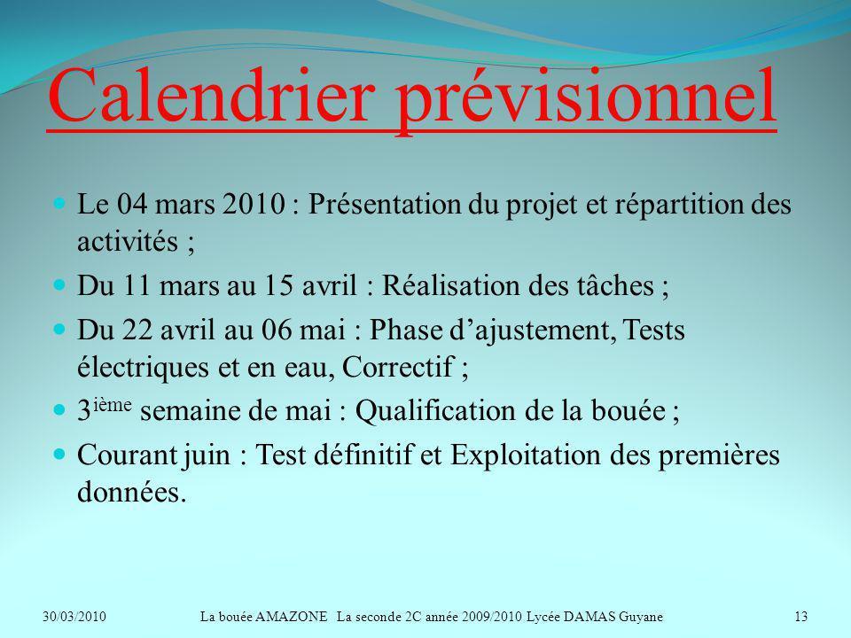 Calendrier prévisionnel