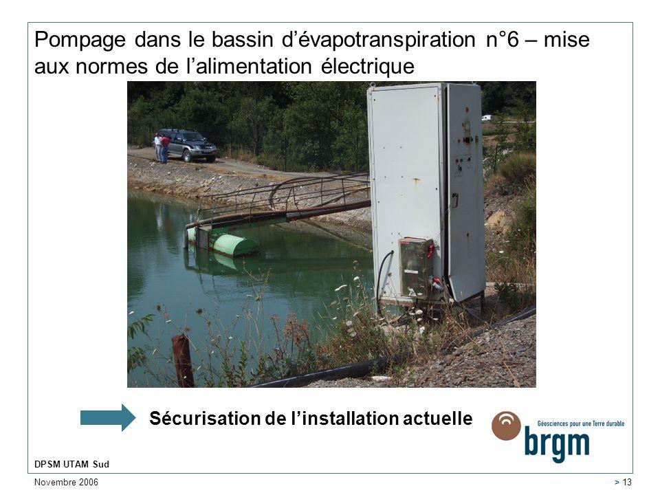 Pompage dans le bassin d'évapotranspiration n°6 – mise aux normes de l'alimentation électrique
