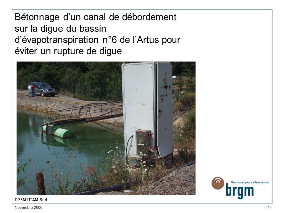 Bétonnage d'un canal de débordement sur la digue du bassin d'évapotranspiration n°6 de l'Artus pour éviter un rupture de digue
