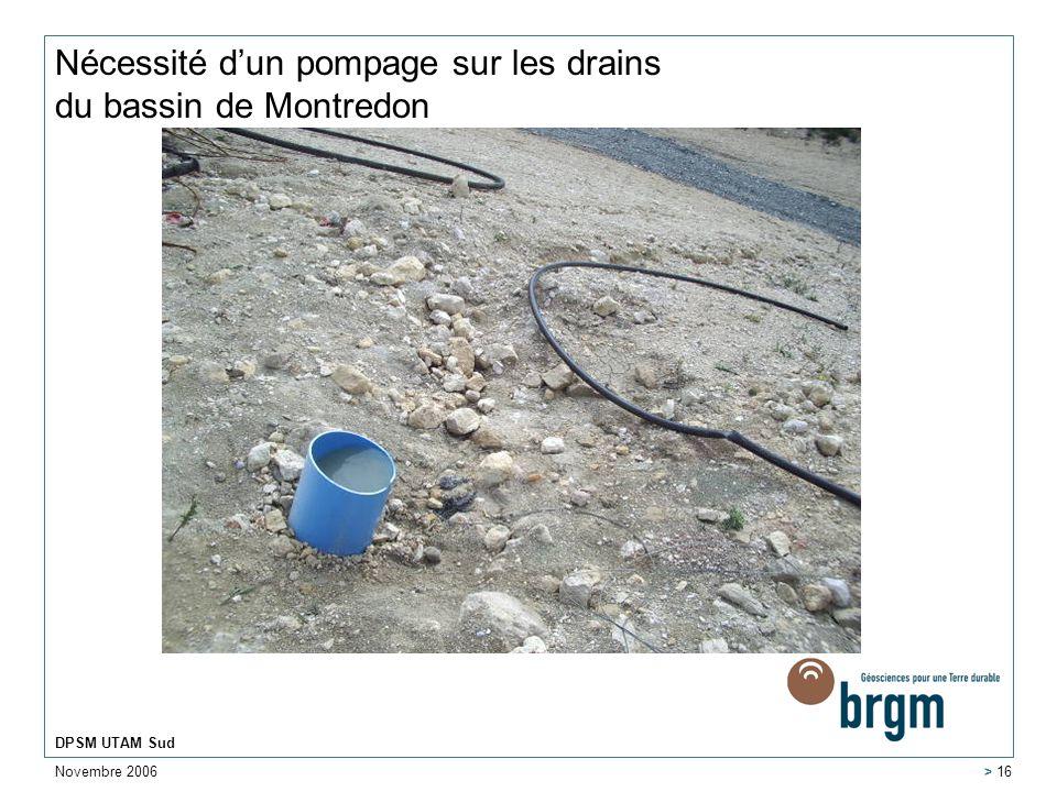 Nécessité d'un pompage sur les drains du bassin de Montredon