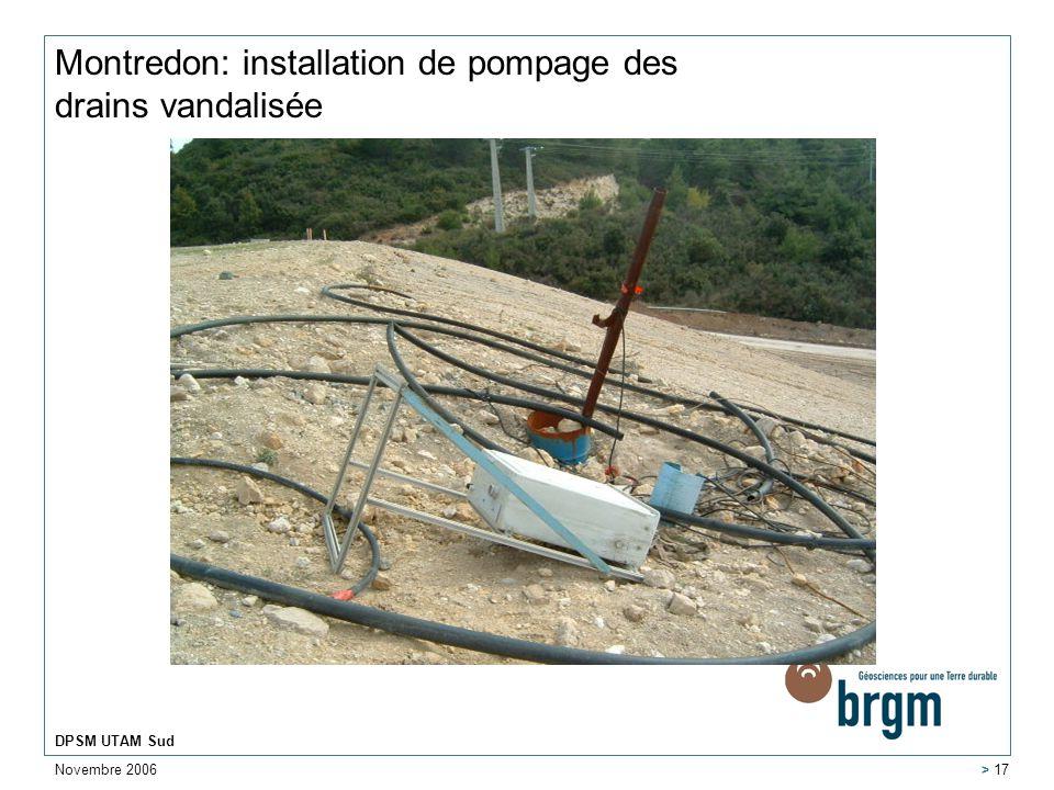 Montredon: installation de pompage des drains vandalisée