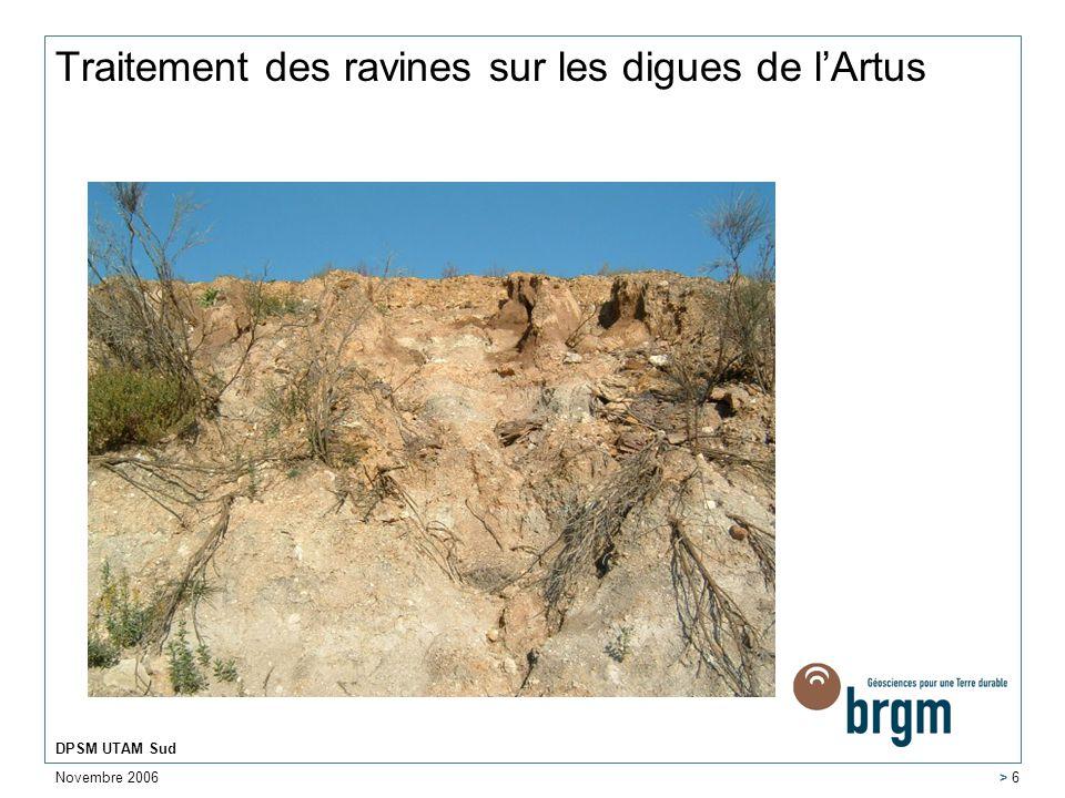 Traitement des ravines sur les digues de l'Artus
