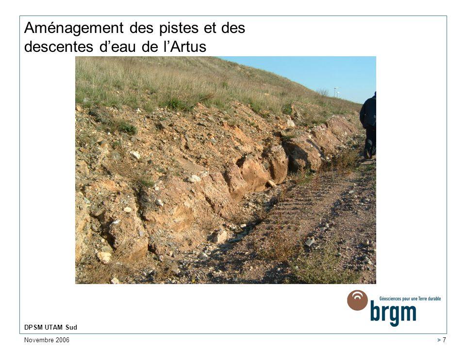 Aménagement des pistes et des descentes d'eau de l'Artus