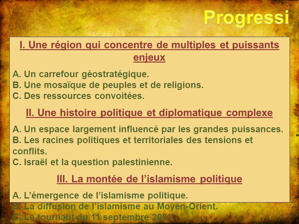 Progression I. Une région qui concentre de multiples et puissants enjeux. A. Un carrefour géostratégique.