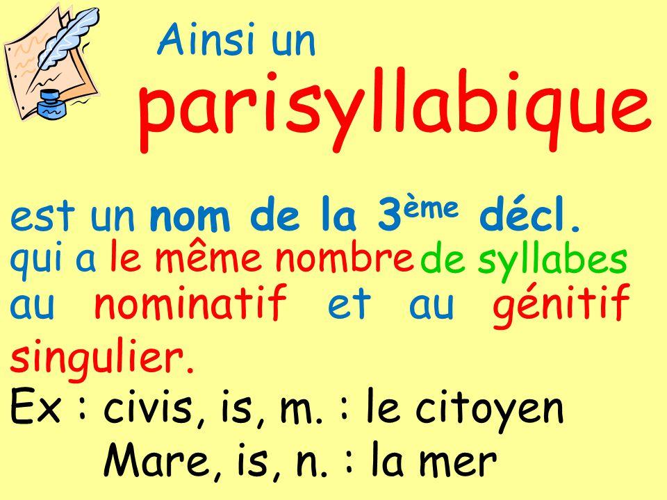 pari syllabique Ainsi un est un nom de la 3ème décl.
