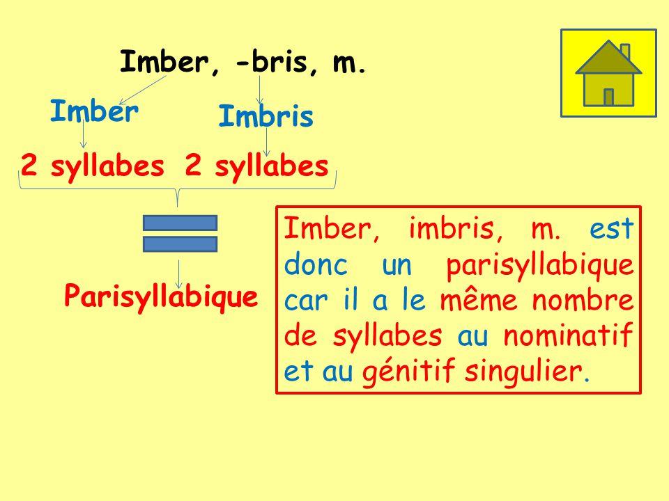Imber, -bris, m. Imber. Imbris. 2 syllabes. 2 syllabes.
