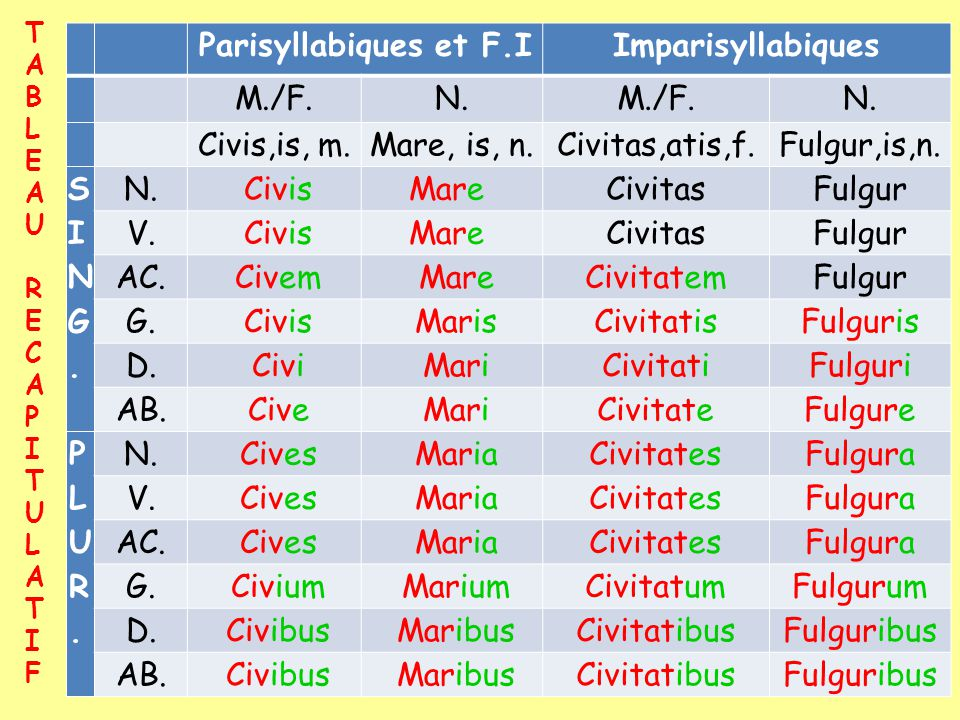 Parisyllabiques et F.I Imparisyllabiques S I N G. P L U R.