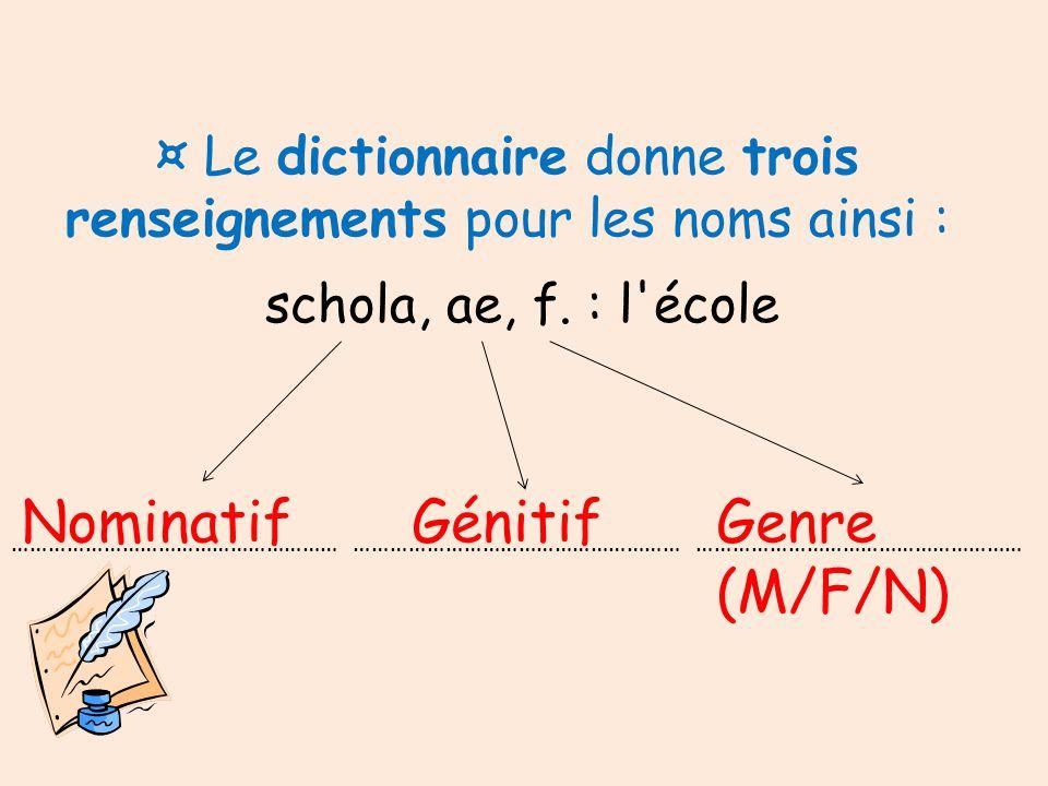 ¤ Le dictionnaire donne trois renseignements pour les noms ainsi :