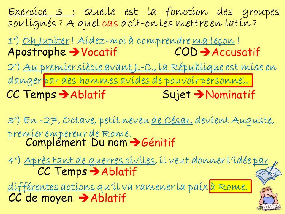 Exercice 3 : Quelle est la fonction des groupes soulignés