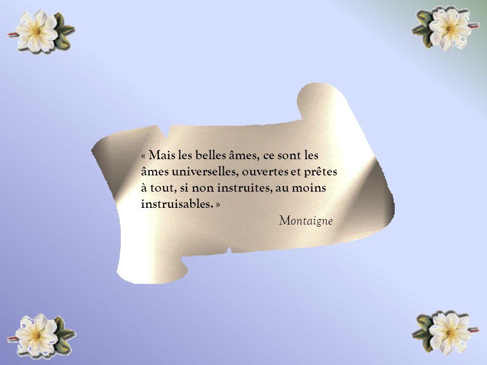 « Mais les belles âmes, ce sont les âmes universelles, ouvertes et prêtes à tout, si non instruites, au moins instruisables. »