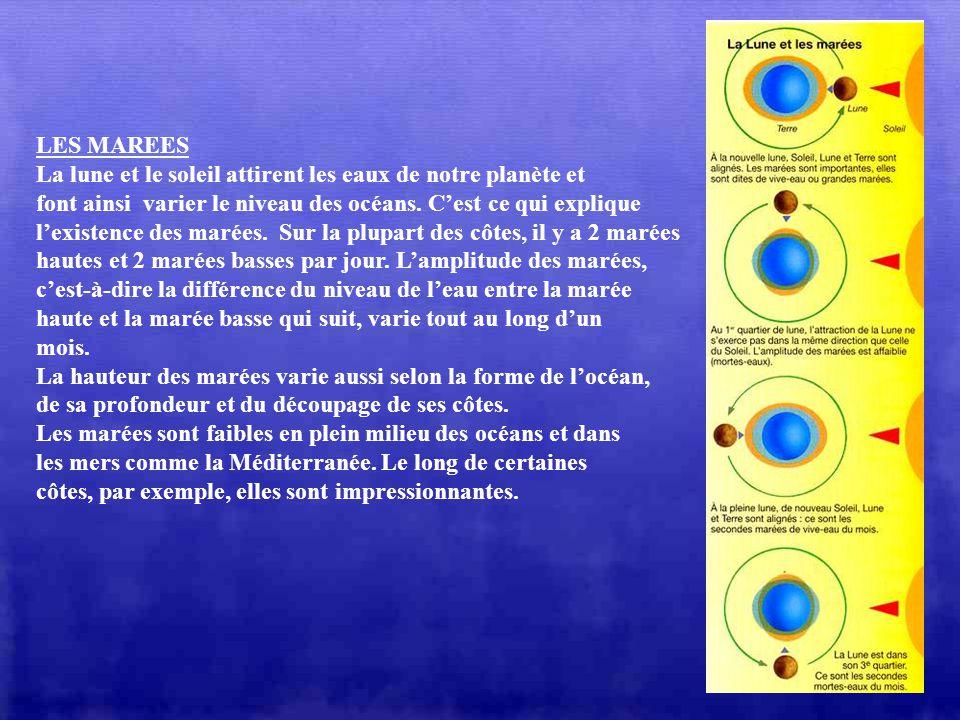 LES MAREES La lune et le soleil attirent les eaux de notre planète et. font ainsi varier le niveau des océans. C'est ce qui explique.