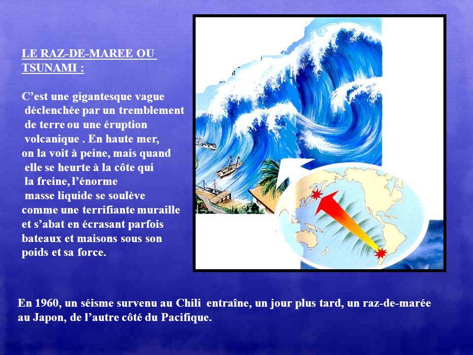 LE RAZ-DE-MAREE OU TSUNAMI : C'est une gigantesque vague. déclenchée par un tremblement. de terre ou une éruption.