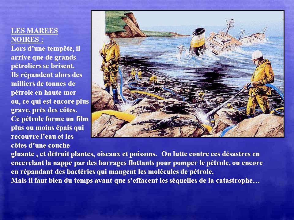 LES MAREES NOIRES : Lors d'une tempête, il. arrive que de grands. pétroliers se brisent. Ils répandent alors des.