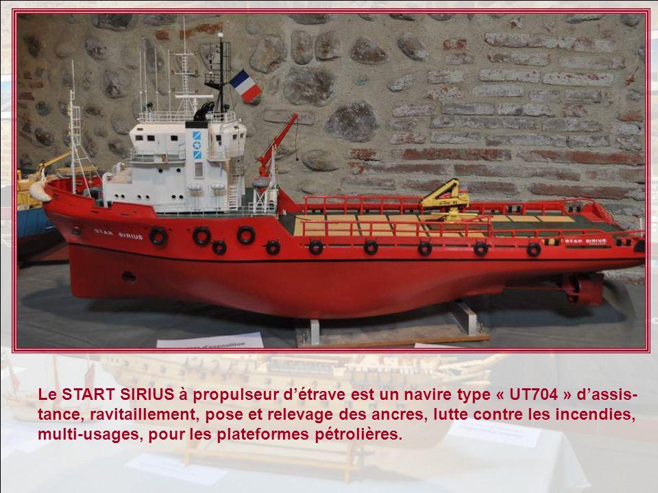 Le START SIRIUS à propulseur d'étrave est un navire type « UT704 » d'assis-tance, ravitaillement, pose et relevage des ancres, lutte contre les incendies, multi-usages, pour les plateformes pétrolières.