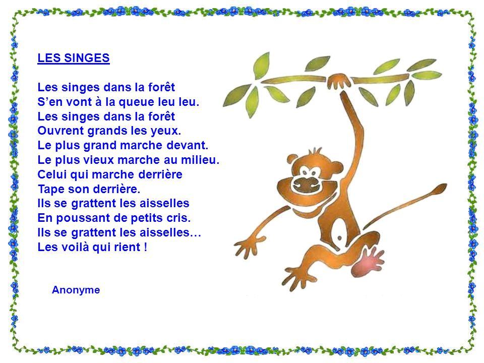 Les singes dans la forêt S'en vont à la queue leu leu.