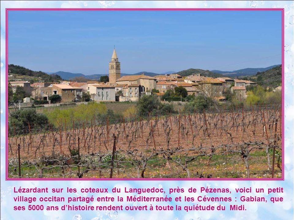 Lézardant sur les coteaux du Languedoc, près de Pézenas, voici un petit village occitan partagé entre la Méditerranée et les Cévennes : Gabian, que ses 5000 ans d'histoire rendent ouvert à toute la quiétude du Midi.