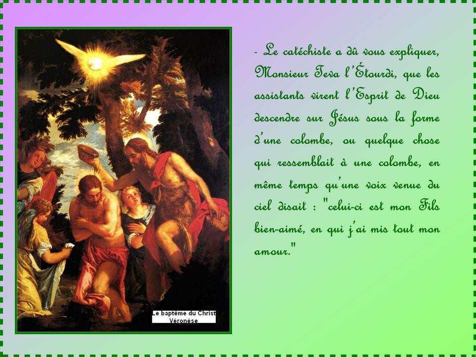 Le catéchiste a dû vous expliquer, Monsieur Teva l'Étourdi, que les assistants virent l'Esprit de Dieu descendre sur Jésus sous la forme d'une colombe, ou quelque chose qui ressemblait à une colombe, en même temps qu'une voix venue du ciel disait : celui-ci est mon Fils bien-aimé, en qui j'ai mis tout mon amour.
