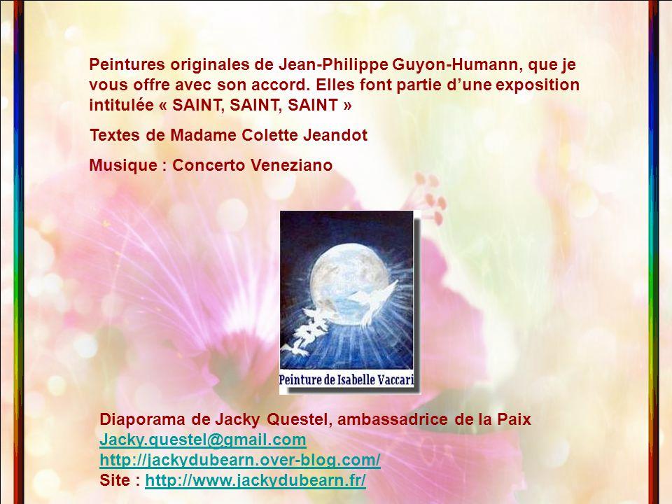 Peintures originales de Jean-Philippe Guyon-Humann, que je vous offre avec son accord. Elles font partie d'une exposition intitulée « SAINT, SAINT, SAINT »