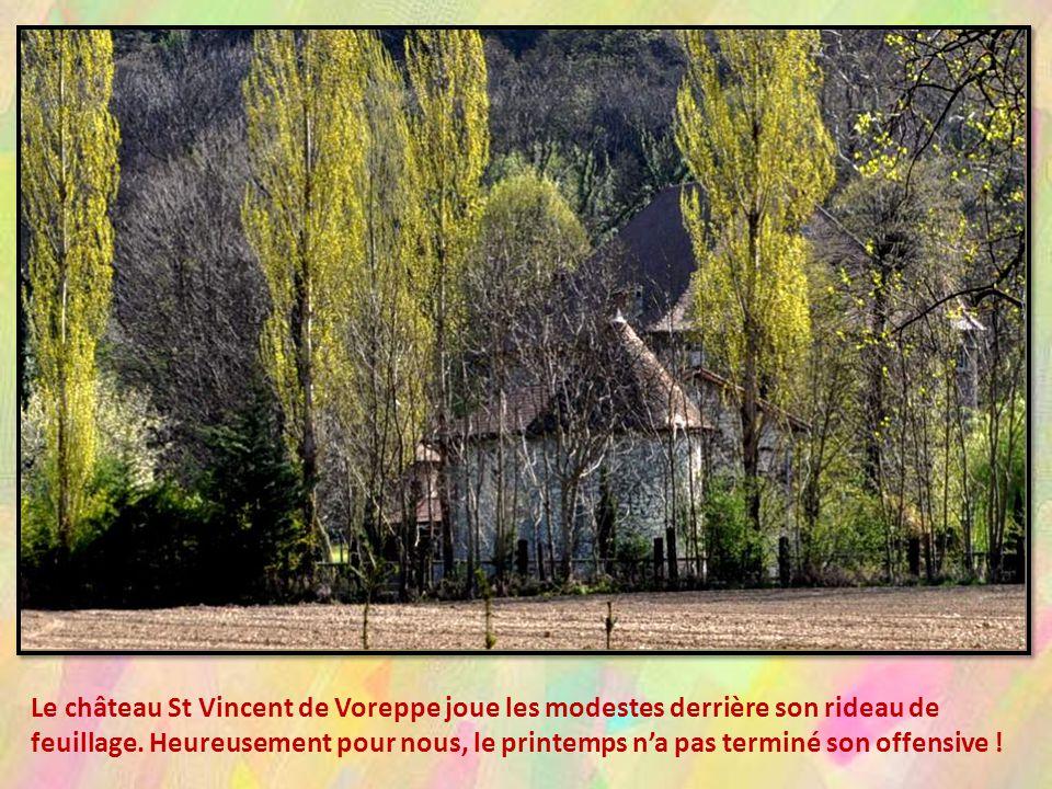Le château St Vincent de Voreppe joue les modestes derrière son rideau de feuillage.