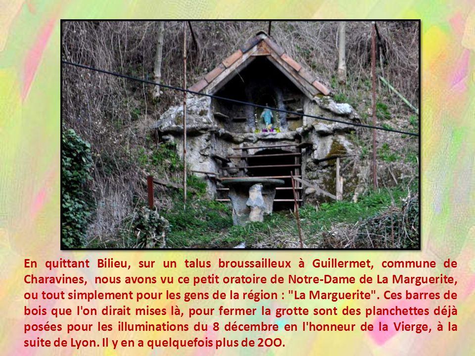 En quittant Bilieu, sur un talus broussailleux à Guillermet, commune de Charavines, nous avons vu ce petit oratoire de Notre-Dame de La Marguerite, ou tout simplement pour les gens de la région : La Marguerite .