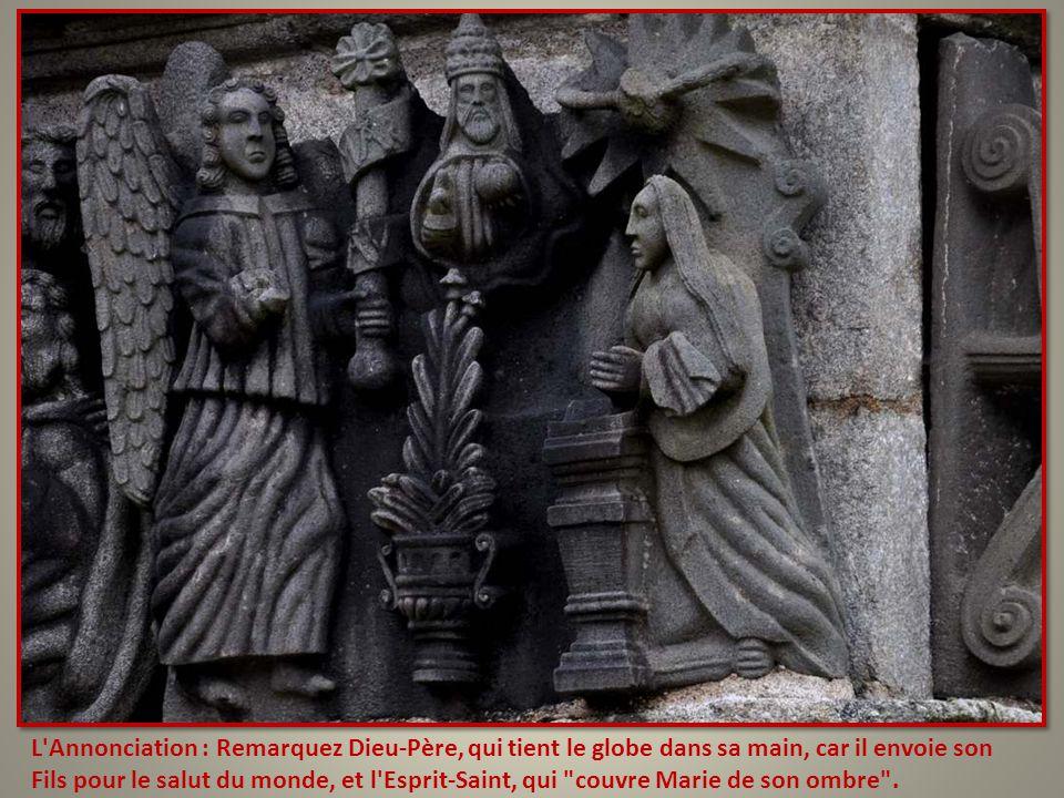 L Annonciation : Remarquez Dieu-Père, qui tient le globe dans sa main, car il envoie son Fils pour le salut du monde, et l Esprit-Saint, qui couvre Marie de son ombre .