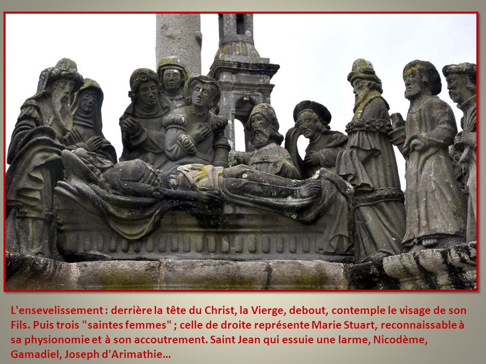 L ensevelissement : derrière la tête du Christ, la Vierge, debout, contemple le visage de son Fils.