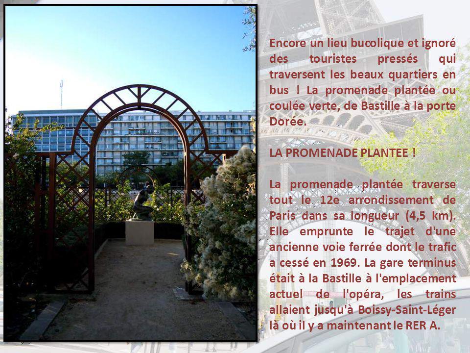Encore un lieu bucolique et ignoré des touristes pressés qui traversent les beaux quartiers en bus ! La promenade plantée ou coulée verte, de Bastille à la porte Dorée.