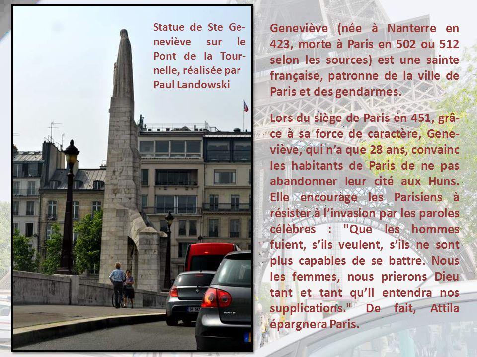 Statue de Ste Ge-neviève sur le Pont de la Tour-nelle, réalisée par