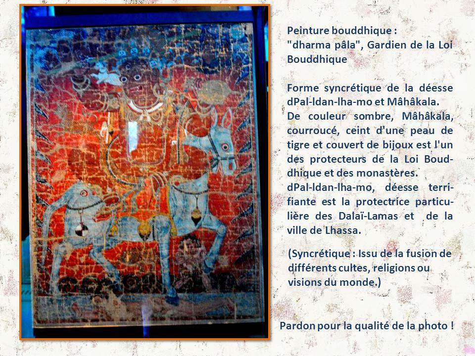 Peinture bouddhique : dharma pâla , Gardien de la Loi Bouddhique. Forme syncrétique de la déesse dPal-ldan-lha-mo et Mâhâkala.
