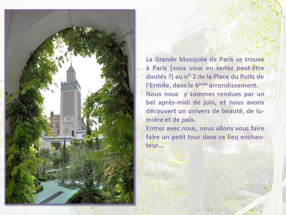 La Grande Mosquée de Paris se trouve à Paris (vous vous en seriez peut-être doutés ) au n° 2 de la Place du Puits de l Ermite, dans le 6ème arrondissement.