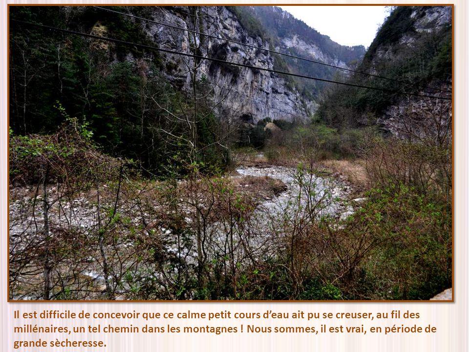 Il est difficile de concevoir que ce calme petit cours d'eau ait pu se creuser, au fil des millénaires, un tel chemin dans les montagnes .