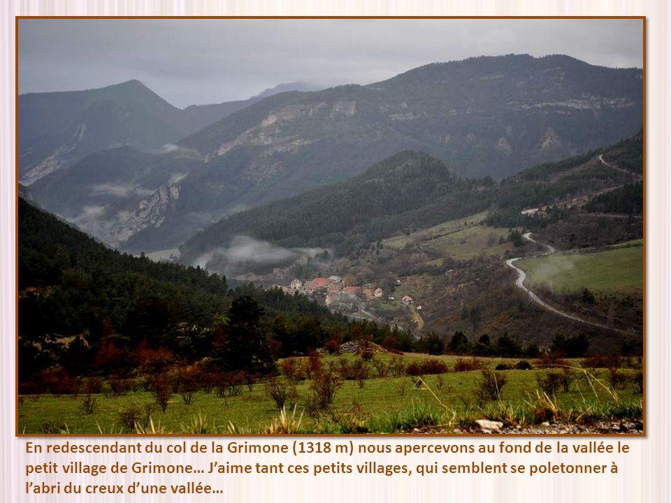 En redescendant du col de la Grimone (1318 m) nous apercevons au fond de la vallée le petit village de Grimone… J'aime tant ces petits villages, qui semblent se poletonner à l'abri du creux d'une vallée…