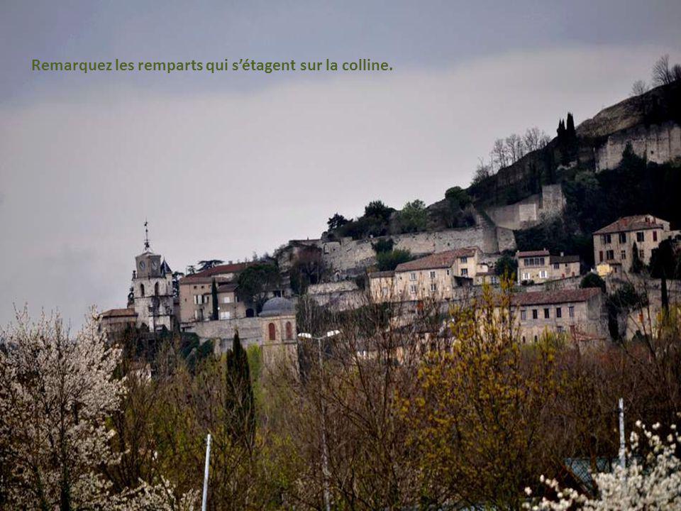Remarquez les remparts qui s'étagent sur la colline.