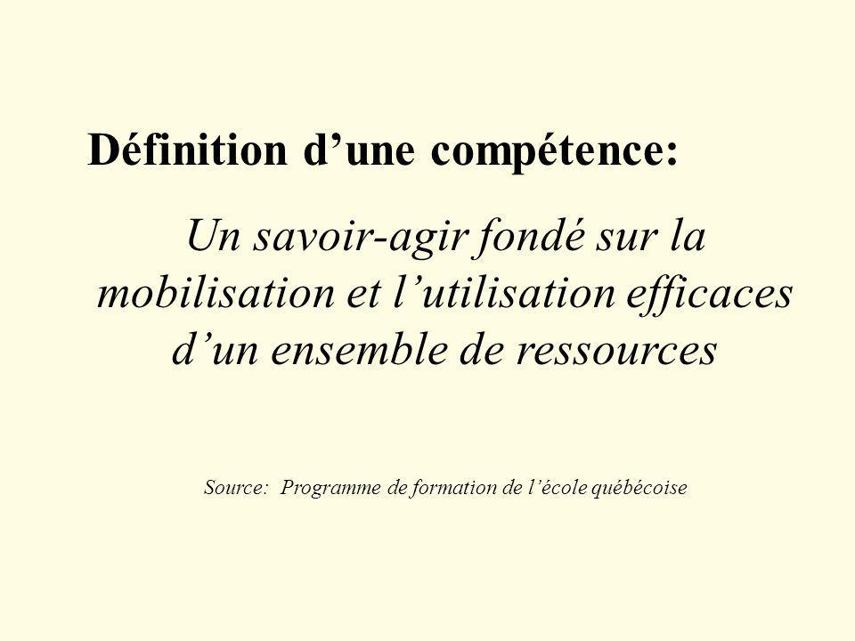 Source: Programme de formation de l'école québécoise