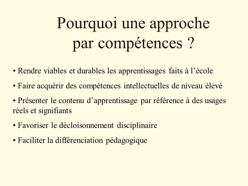 Pourquoi une approche par compétences