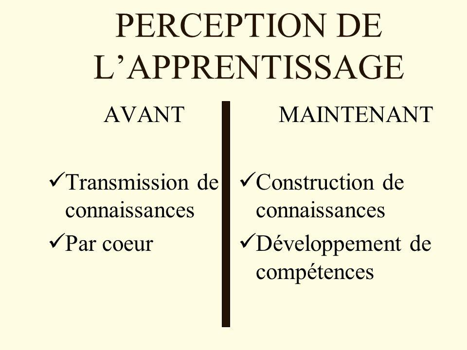 PERCEPTION DE L'APPRENTISSAGE