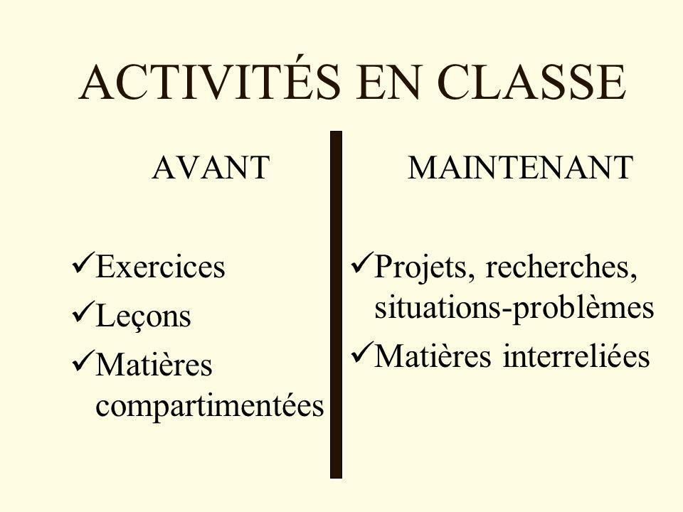 ACTIVITÉS EN CLASSE AVANT Exercices Leçons Matières compartimentées