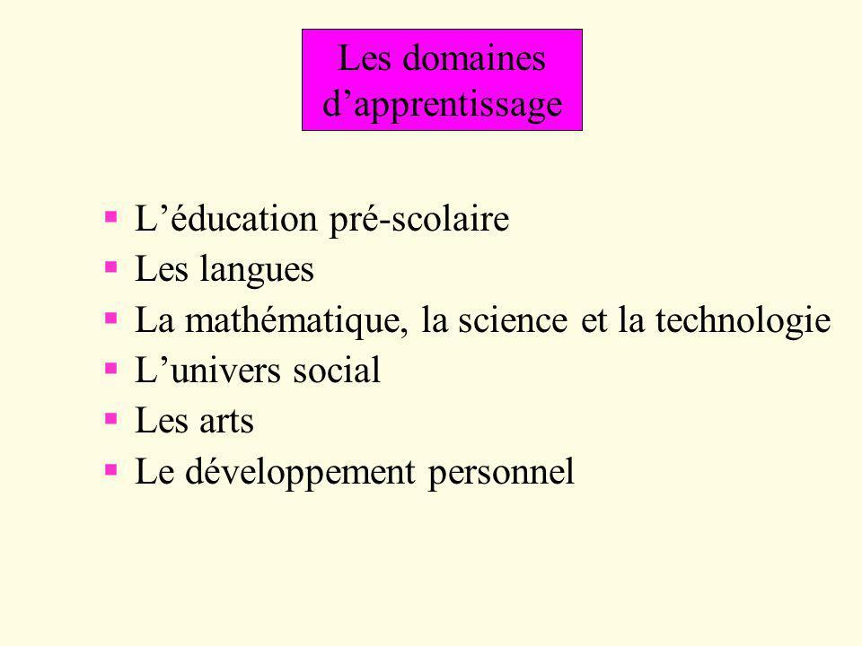 Les domaines d'apprentissage