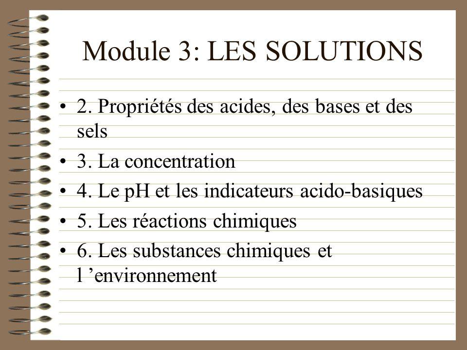 Module 3: LES SOLUTIONS 2. Propriétés des acides, des bases et des sels. 3. La concentration. 4. Le pH et les indicateurs acido-basiques.