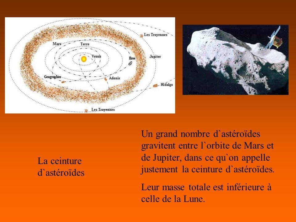 Un grand nombre d`astéroïdes gravitent entre l`orbite de Mars et de Jupiter, dans ce qu`on appelle justement la ceinture d`astéroïdes.