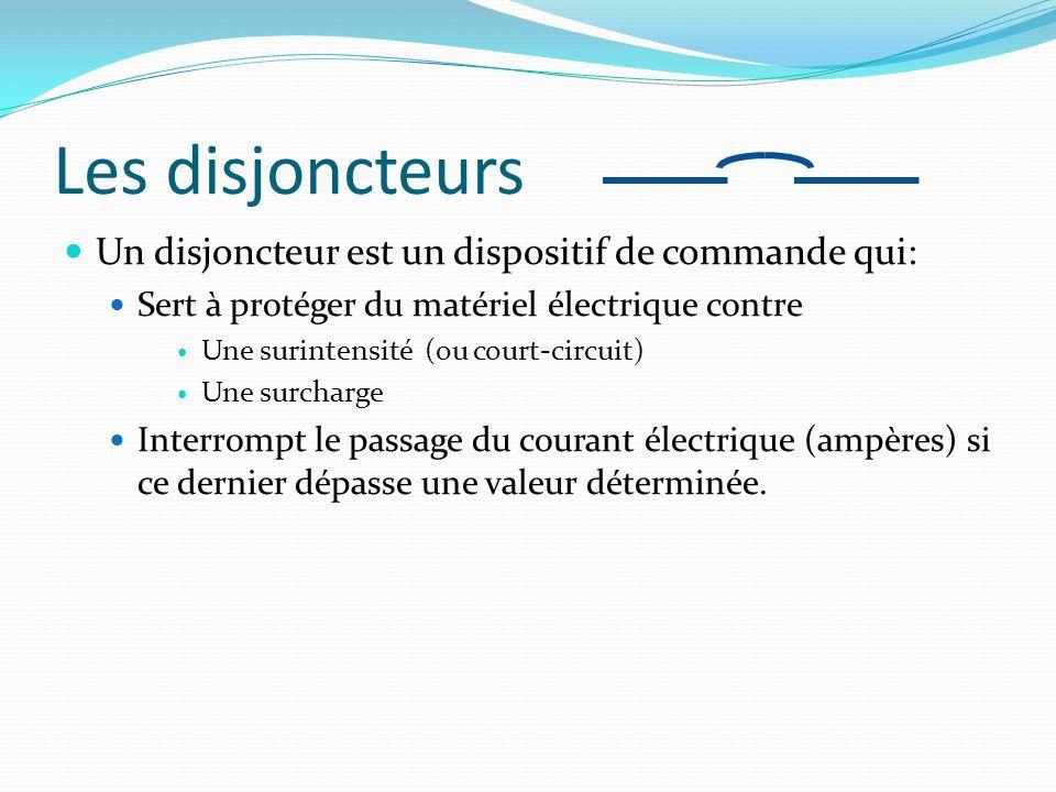 Les disjoncteurs Un disjoncteur est un dispositif de commande qui: