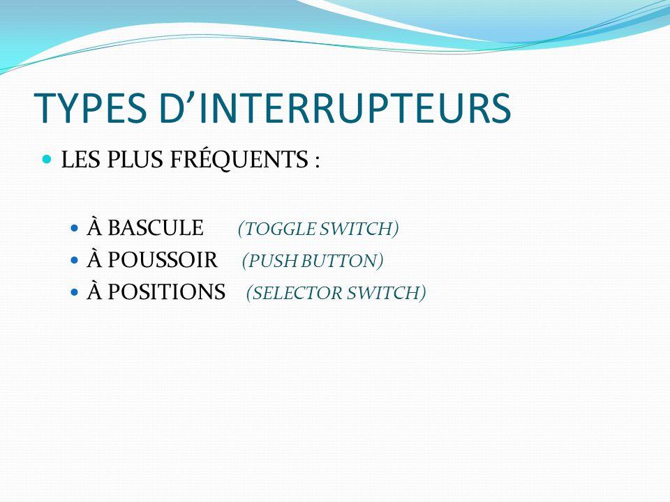 TYPES D'INTERRUPTEURS