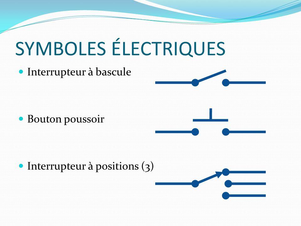 SYMBOLES ÉLECTRIQUES Interrupteur à bascule Bouton poussoir