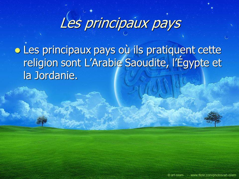 Les principaux pays Les principaux pays où ils pratiquent cette religion sont L'Arabie Saoudite, l'Égypte et la Jordanie.