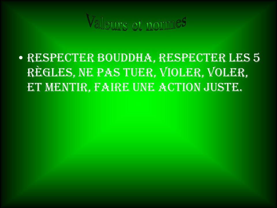 Valeurs et normes Respecter bouddha, respecter les 5 règles, ne pas tuer, violer, voler, et mentir, faire une action juste.
