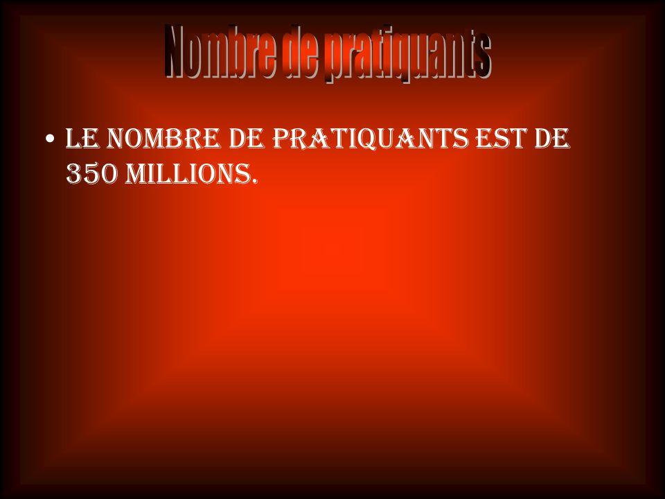 Nombre de pratiquants Le nombre de pratiquants est de 350 millions.
