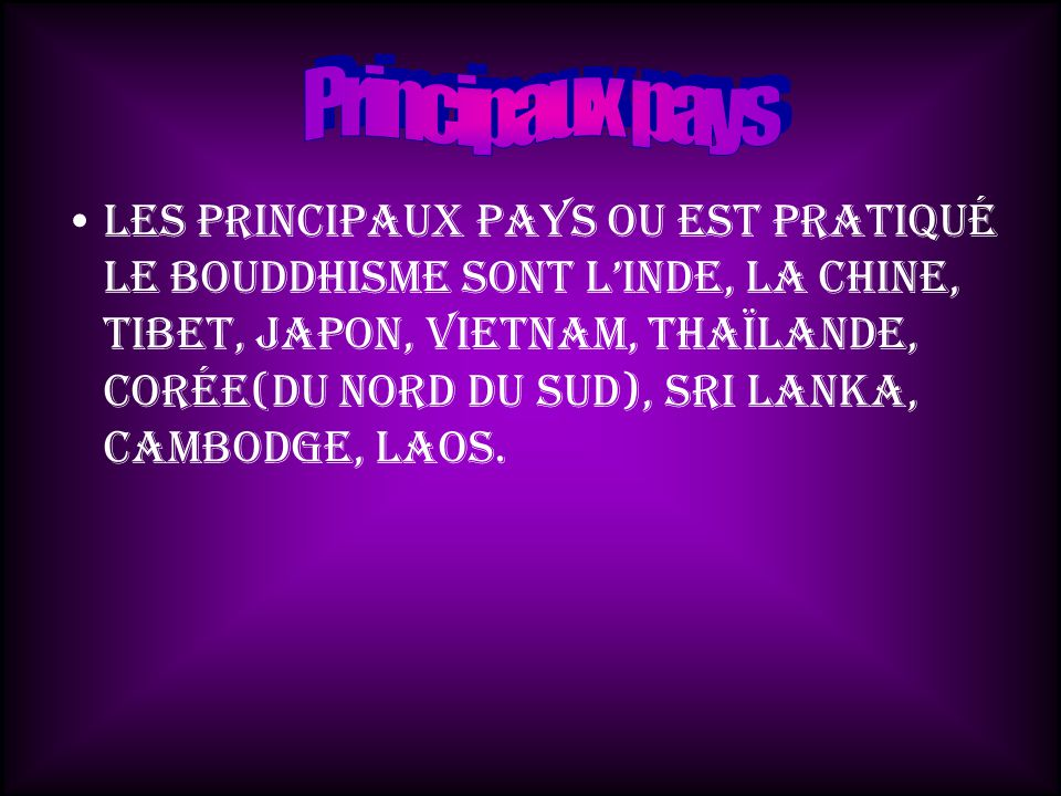 Principaux pays