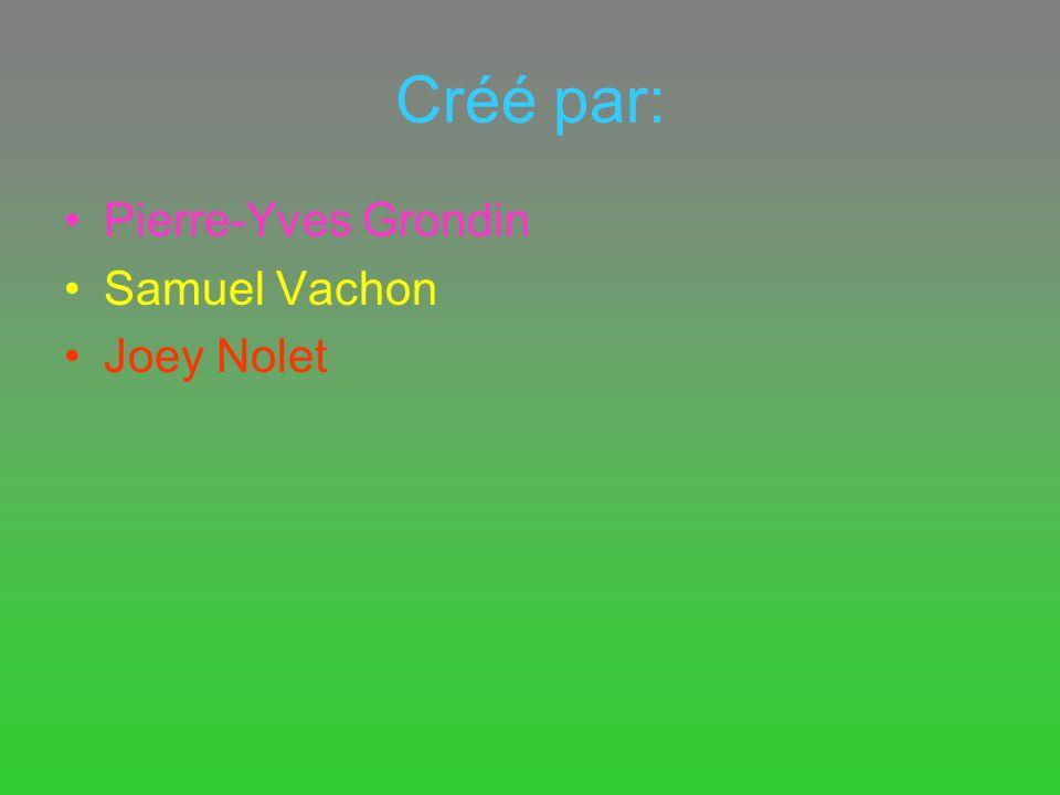 Créé par: Pierre-Yves Grondin Samuel Vachon Joey Nolet